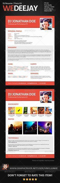 Minimalistix - DJ Resume / Press Kit | Press kits, Resume cv and ...
