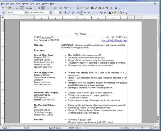 Resume Templates for OpenOffice Free - http://getresumetemplate ...