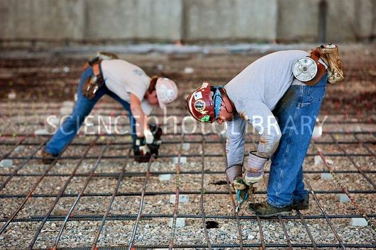 Tying Rebar before Concrete Pour - Stock Image C027/4306 - Science ...