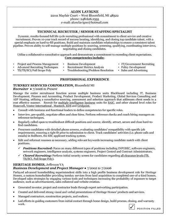 Technical Recruiter Resume Example | Resume examples