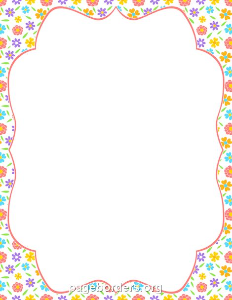 Printable spring flower border. Use the border in Microsoft Word ...