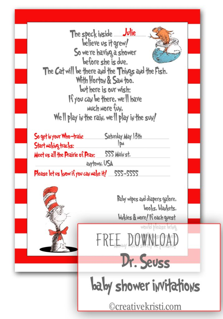 Dr Seuss Baby Shower Invitations Printable Free | THERUNTIME.COM