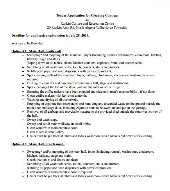 Basic Services Contract Service Contract Template Free Printable – Cleaning Contract Template