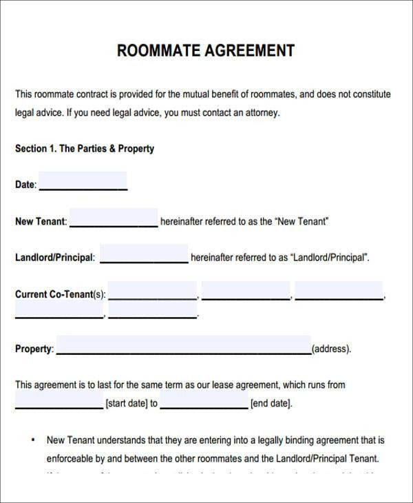 Sample Roommate Rental Agreement Form. Roommate Agreement Sample ...
