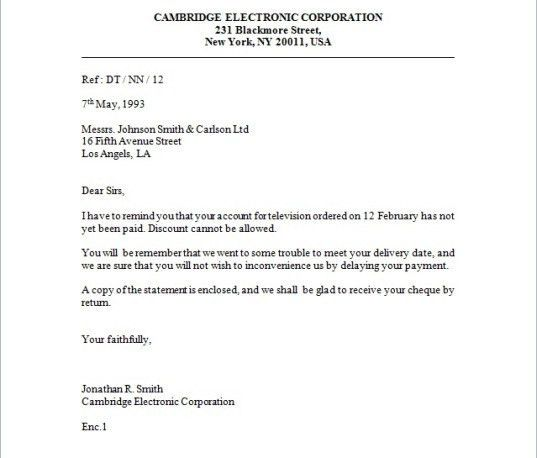 Format Of Enquiry Letter [Template.billybullock.us ]