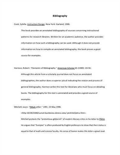 Annotated bibliography for websites example