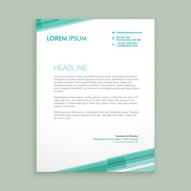 Abstract letterhead template with green lines Vector   Free Download