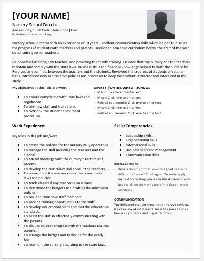 Nursery School Director Resumes for MS Word | Resume Templates