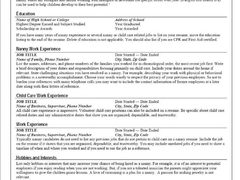 nanny resume objective unforgettable full time nanny resume