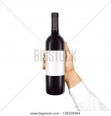 Blank white label mock up on black bottle of red wine in hand ...