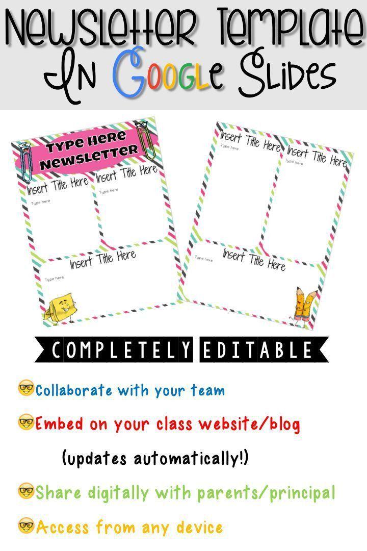 Editable Newsletter Template in Google Slides™ | Newsletter ...