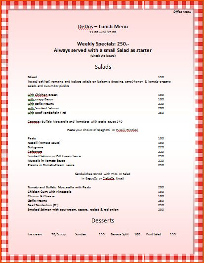 6+ menu template word - bookletemplate.org