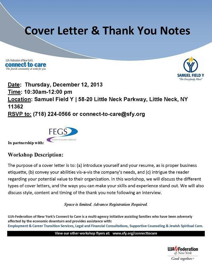 Cover Letters and Thank You Notes Workshop | Samuel Field Y