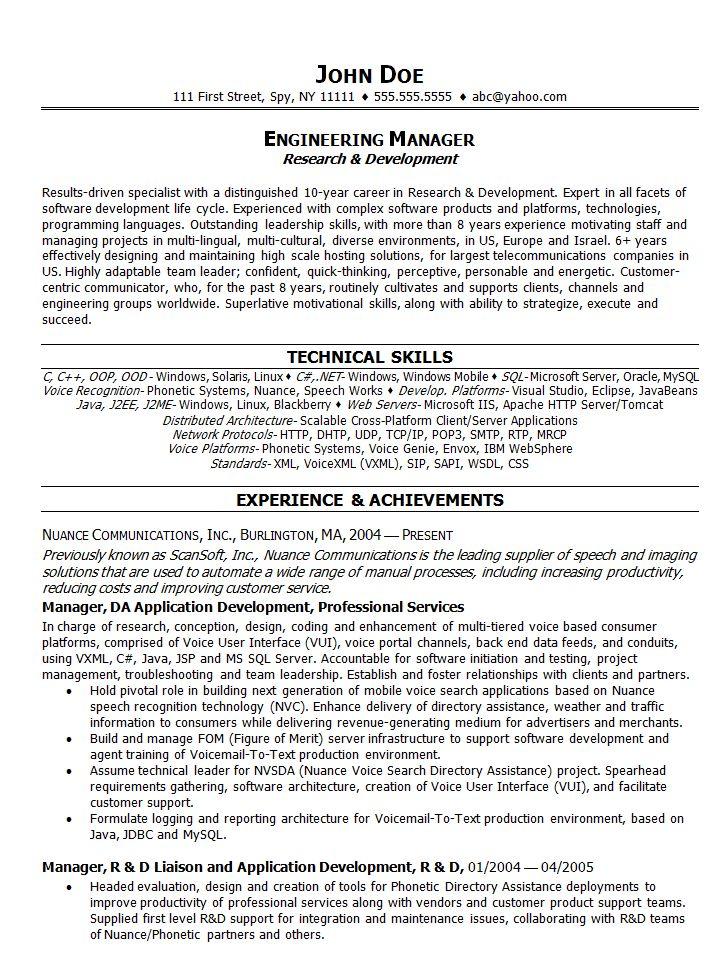 Engineering Manager Resume | berathen.Com