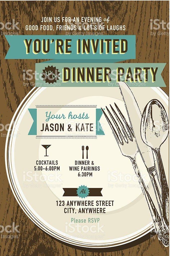 Vertical Elegant Dinner Party Invitation Design Template stock ...