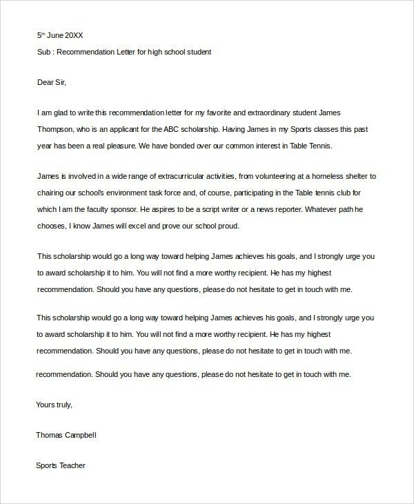 Sample Letter of Recommendation For Student - 8+ Examples in PDF, Word