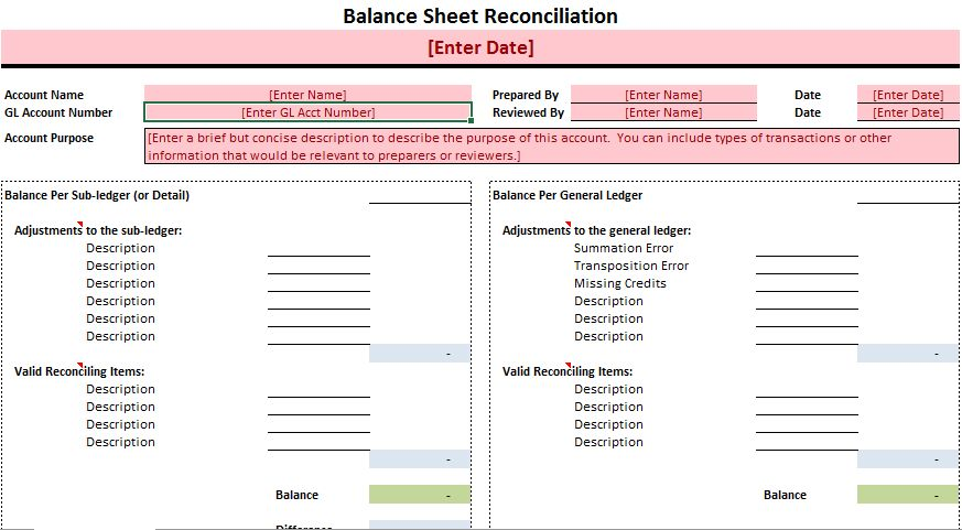 Overview) General Ledger Reconciliation Template Excel - Project ...