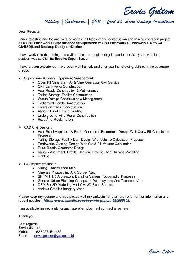 Erwin Gultom's Cover Letter & Resume 2017