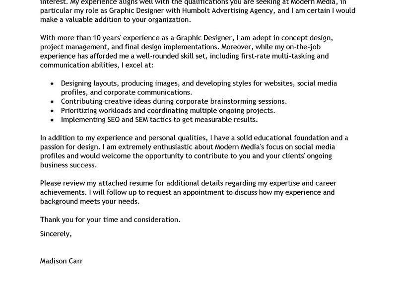Mesmerizing Resume Cover Letter Example 8 Best Graphic Designer ...
