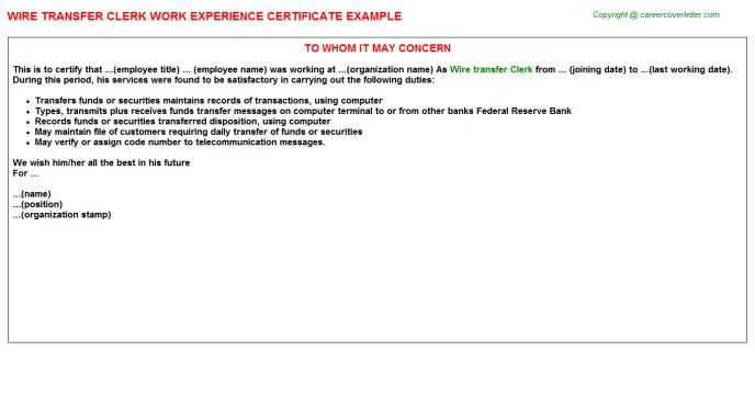 Wire Transfer Clerk Work Experience Certificate
