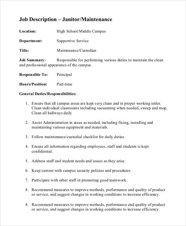 Sample Custodian Job Description - 8+ Examples in PDF, Word