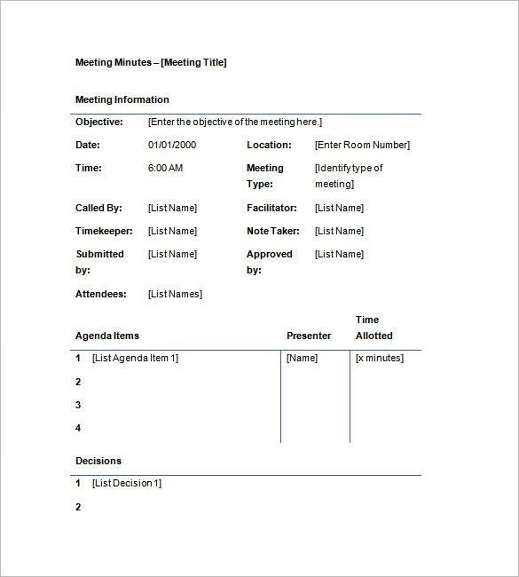 Free Meeting Minutes Templates – 8+ Free Sample, Example Format ...