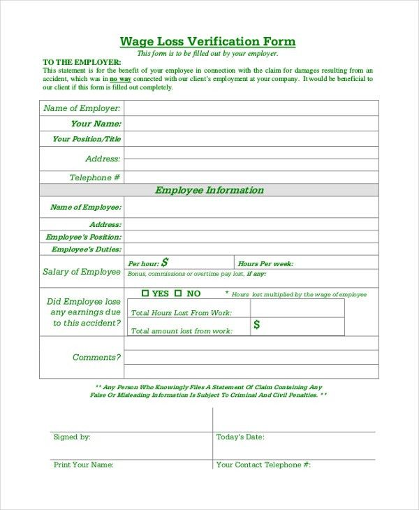 Sample Wage Verification Form - 9+ Free Documents in PDF