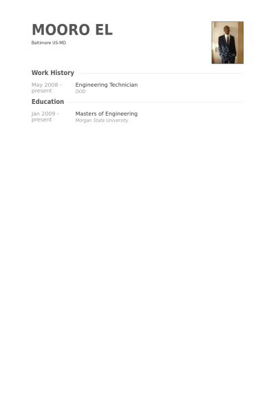 Engineering Technician Resume samples - VisualCV resume samples ...