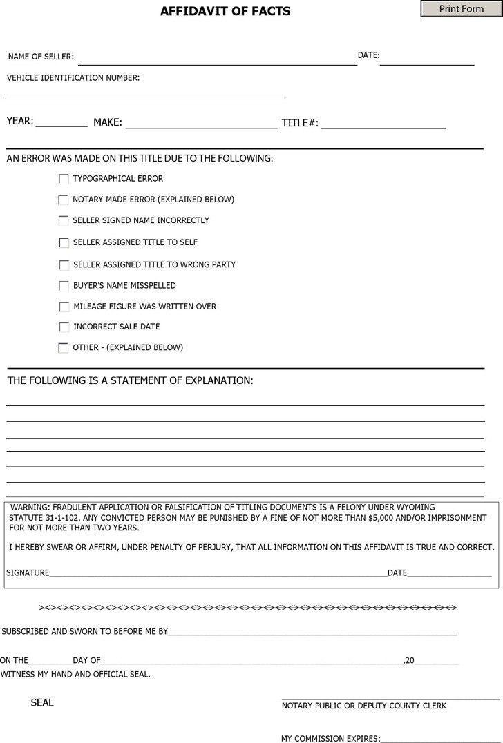 Wyoming Affidavit Form | Download Free & Premium Templates, Forms ...