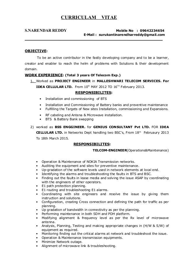 SURUKANTI NARENDAR REDDY TELECOM PROJECT MANAGER RESUME (1)
