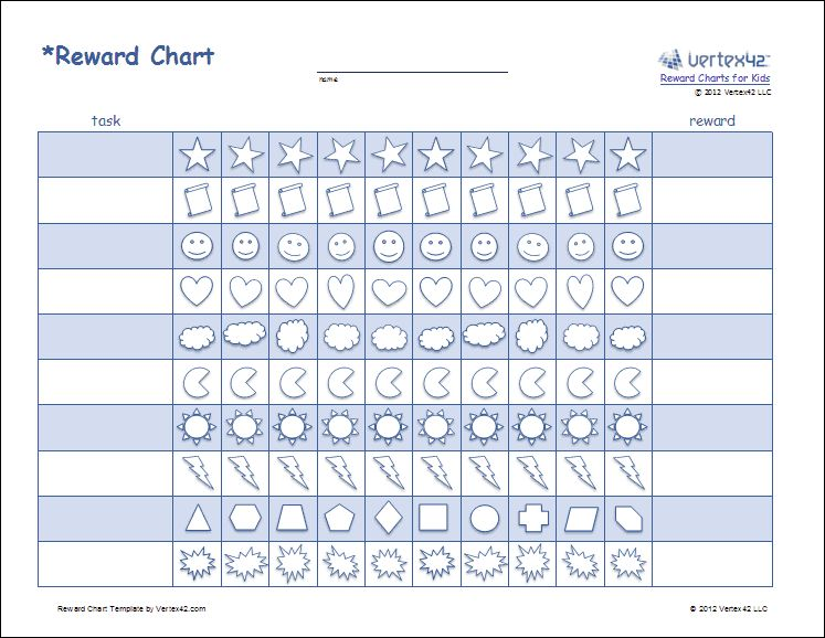Printable Reward Charts for Kids - Reward Chart Template