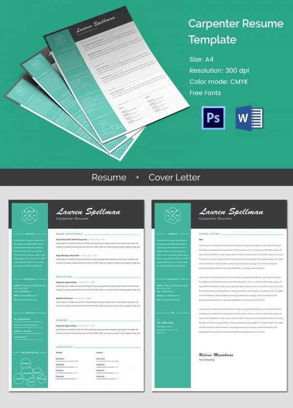 cover letter sample for job application for freshers%0A Modern Carpenter Resume   Cover Letter Template   Free  u     Premium