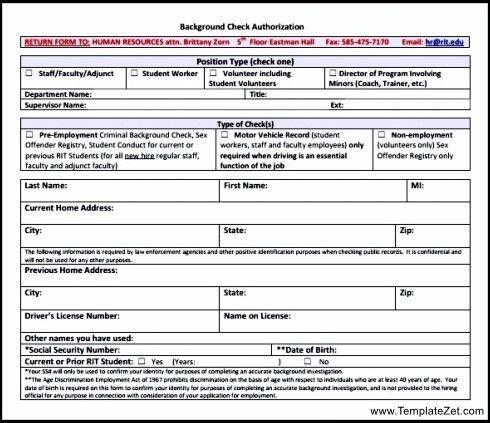 Background Check Form Template | TemplateZet