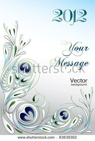 Holiday Glamour Greeting Card Vector Peacock Stock Vector 61429324 ...