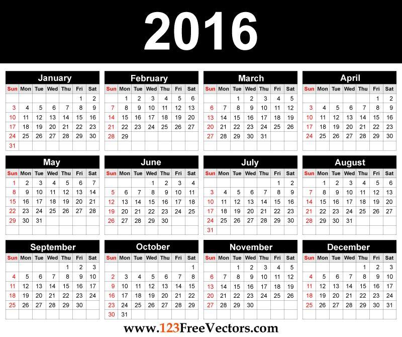 80+ 2016 Calendar Template Vectors | Download Free Vector Art ...