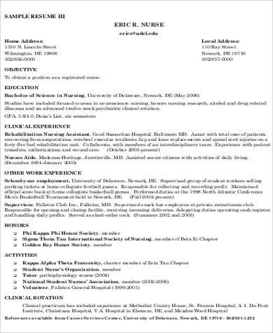 Nursing Resume Objective Sample - 8+ Examples in Word, PDF
