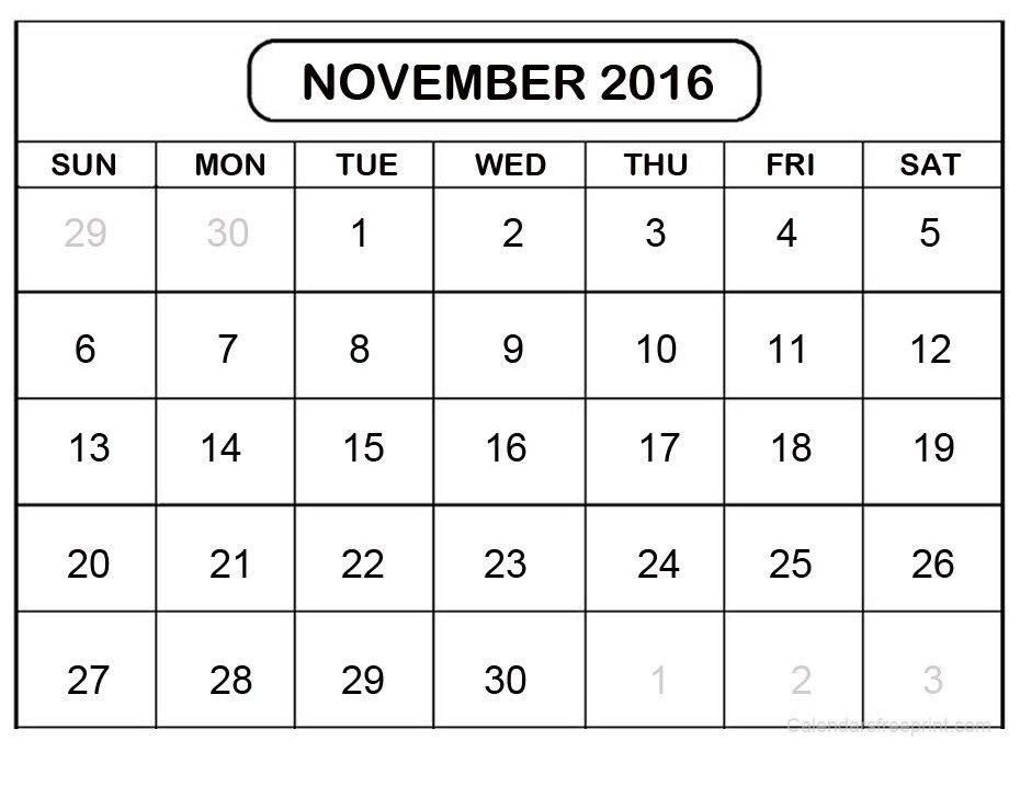 November 2016 Yearly Calendar Template Download | Printable ...