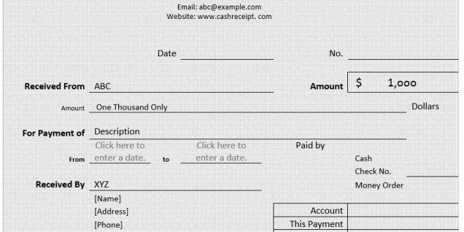 Cash Receipt – Word Template – Microsoft Word Templates