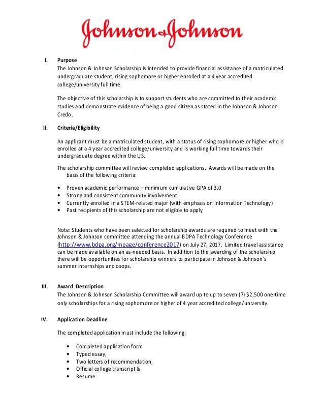 Johnson & Johnson Scholarship for BDPA Students