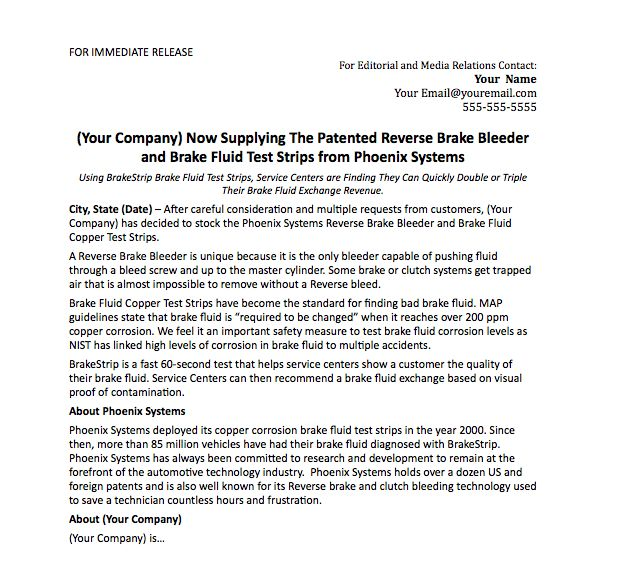 Press Release Template - Phoenix Systems