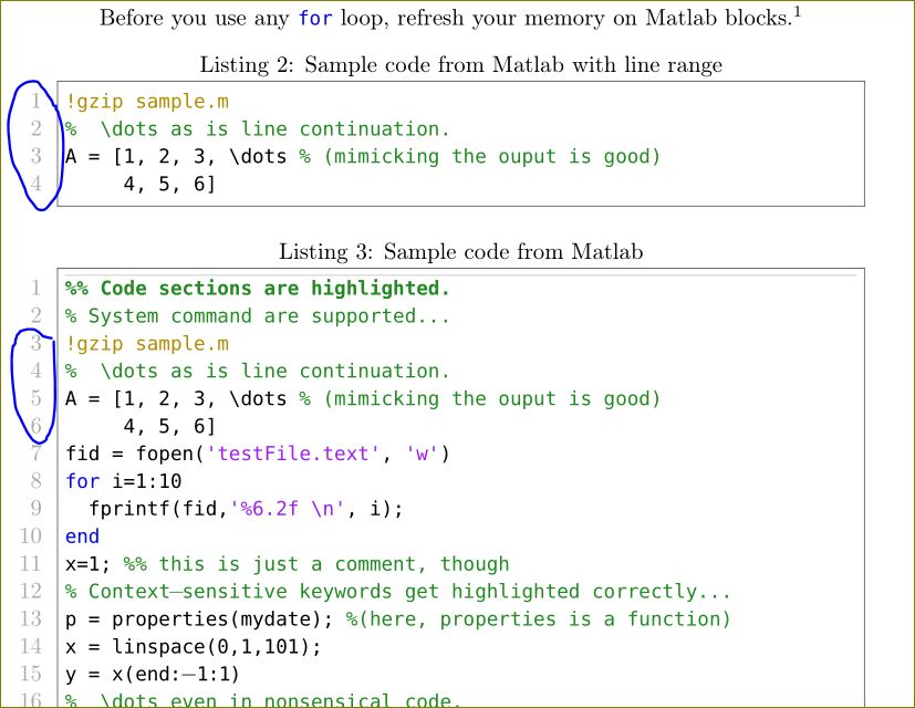 listings - Choosing lines from a Matlab file using matlab ...
