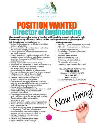 Position Wanted Director of Engineering The Abaco Club on Winding ...