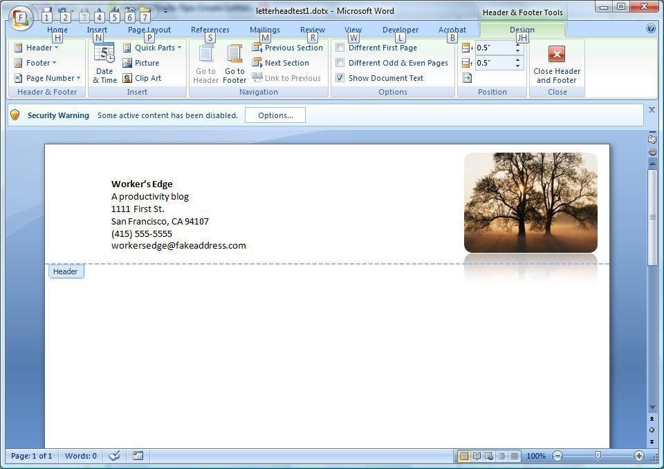 Create a letterhead template in Microsoft Word - CNET