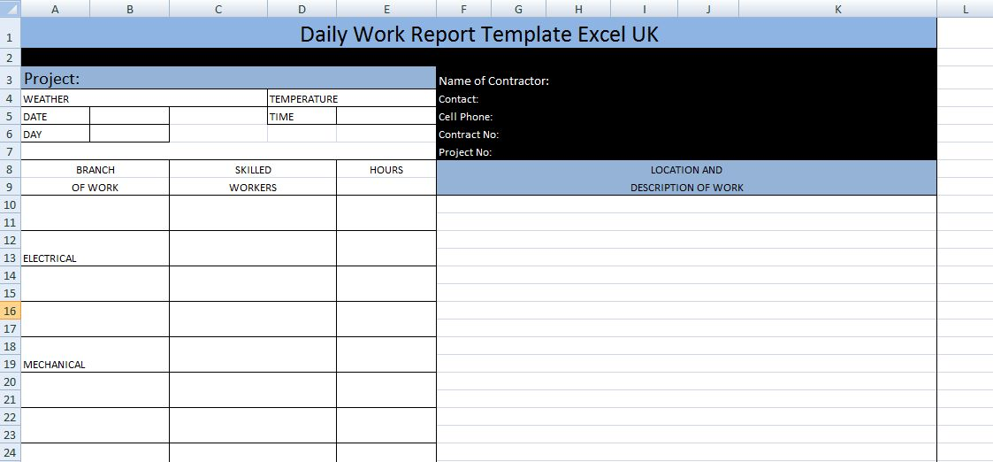 Daily Work Report Template Excel UK – Microsoft Excel Template ...
