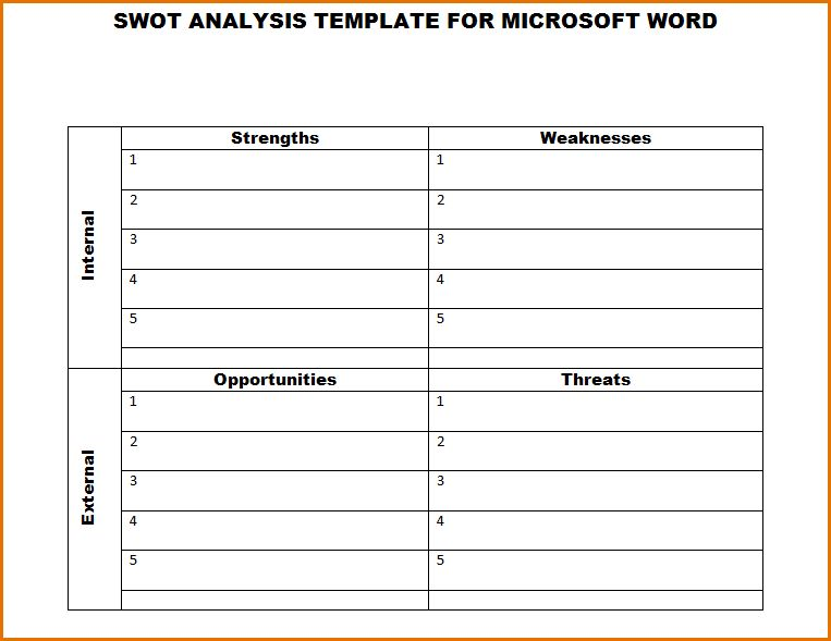 9+ swot analysis template word | Job Resumes Word