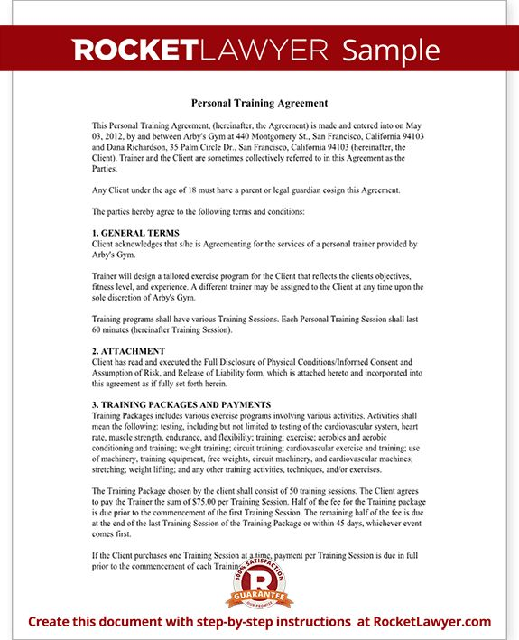 Personal Trainer Forms - Personal Training Contract Agreement Template