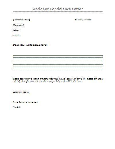 Formal Letter Of Condolence [Template.billybullock.us ]