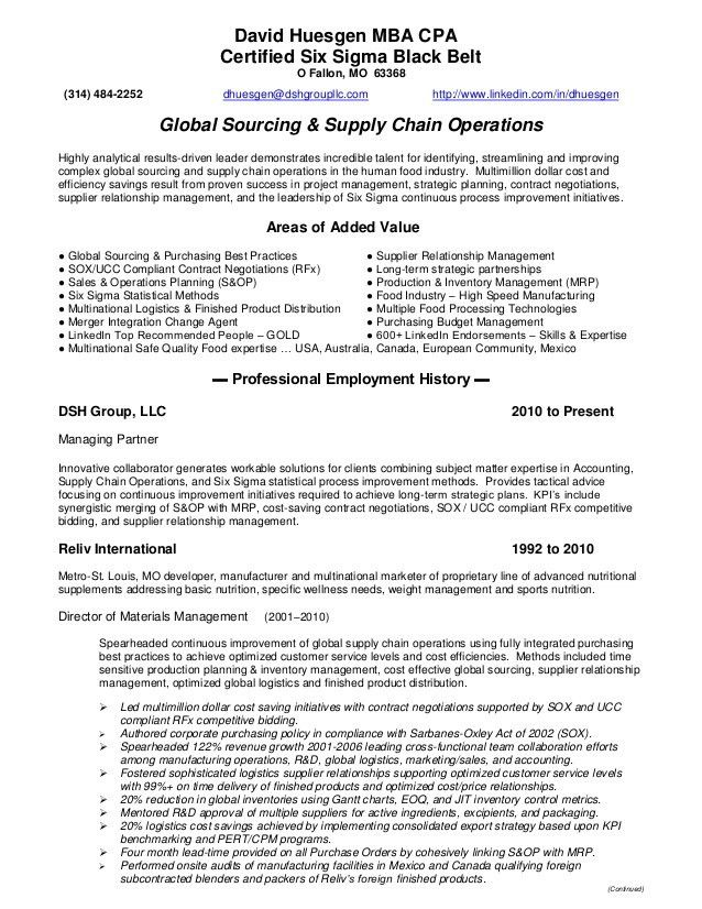 Resume - DHuesgen - Global Sourcing & Supply Chain Operations
