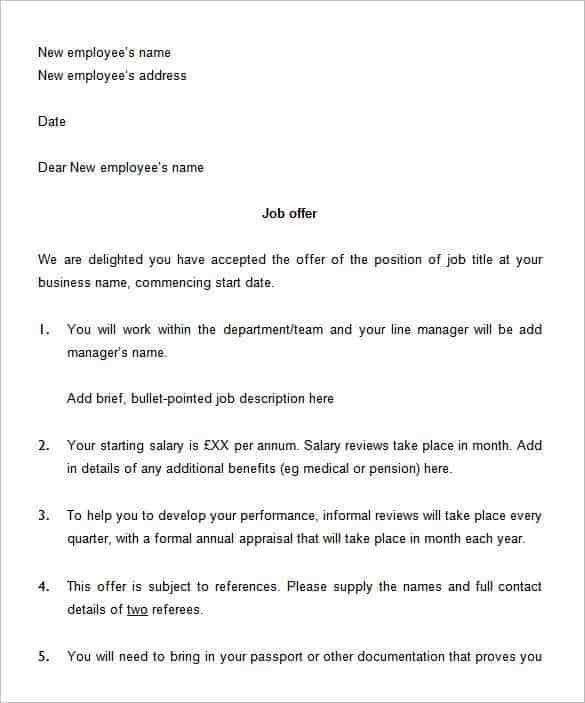 job offer letter sample - Template