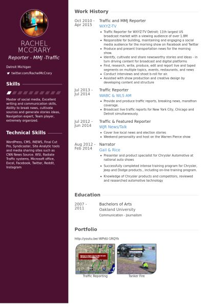 News Reporter Resume Sample News Reporter Resume Samples Visualcv